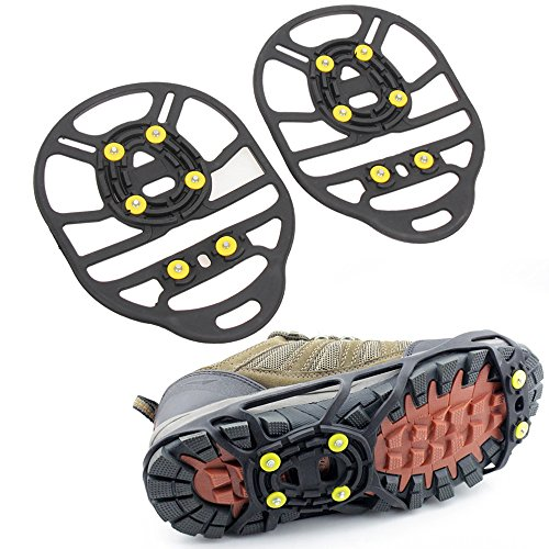 Od-sports Non Slip Shoe Grip,Ice Cleats for Shoes and Boots, Rubber Overshoes for Women Men,Not Easy to Scratch,Snow Spikes Traction for Hiking,Camping,Hunting,Climbing(6 Tooth)