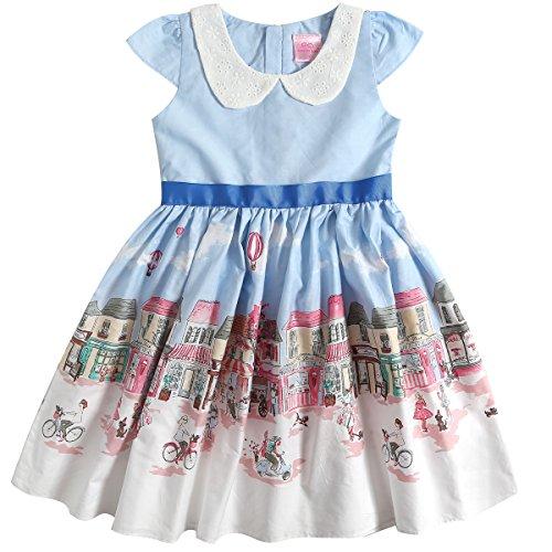 Sharequeen Hometown White Cloud Printing Cap Sleeve Cotton Girls Dress Light Blue Color Flower Neck
