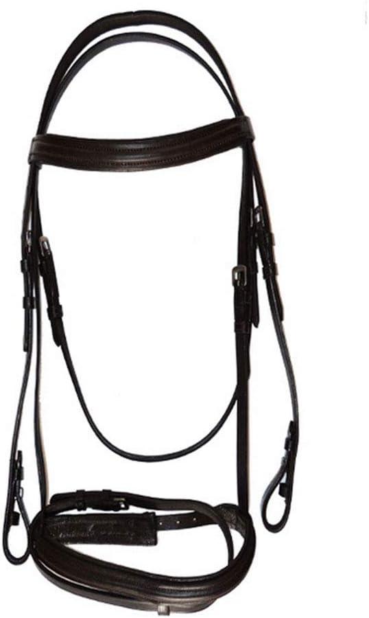 Piel de Vaca Cabezada Durable Proceso de Tejido a Mano Cabezada de Montar Tamaño Ajustable para Carreras de Caballos