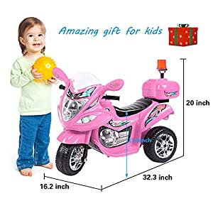 Tamco Police Motorcycle Ride On Toy with Flash Alarm Light, Electric Power Tricycle with Foot Pedal, 7 Colors Flashlight…