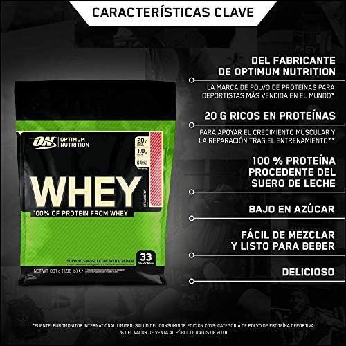 Optimum Nutrition ON Whey Proteina Isolate, Proteinas Whey en Polvo, Proteina de Suero para Masa Muscular y Musculacion, Bajo en Azúcar, Fresa, 33 ...