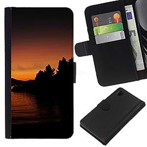 Lago Sunset - la tarjeta de Crédito Slots PU Funda de cuero Monedero caso cubierta de piel Para Sony Xperia Z1 L39