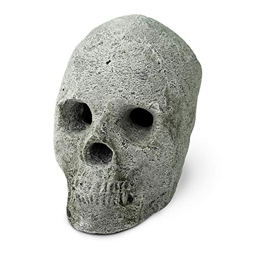 Ceramic Fire Pit Skulls and Bones | Fireproof Ceramic Decoration for Fire Pits and Fireplaces | Faux Halloween Decor, (Gray, Single -