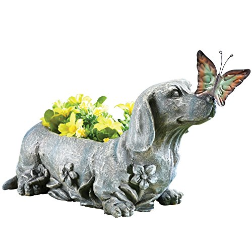 Dachshund Butterfly Sculpted Garden Planter