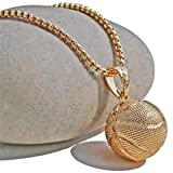 MOONQING Simple Basketball Necklace Creative Necklace Exquisite Ball Pendant Style Necklace,Gold
