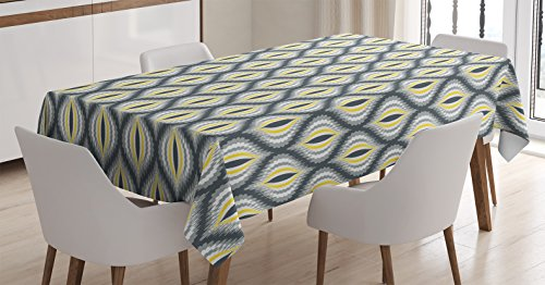 Ambesonne Ikat Decor Tablecloth, Wavy Round Colorful Damask Ikat Motifs Exotic Oriental Asian Style Decorative Home, Rectangular Table Cover for Dining Room Kitchen, 60x84 Inches, Black Yellow Grey (Wavy Motif)