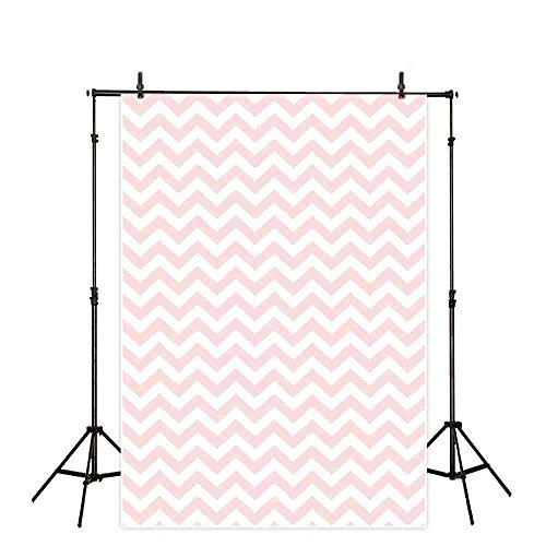 (Allenjoy 5x7ft Vinyl Backdrops Photography Background Chevron Lines Plain Theme Light Pink and White Broken Lines Ripple Pattern Vintage Portraits Photo Backgrounds)