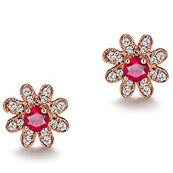 Diamond Ruby Earrings for Women