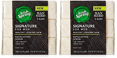(Irish Spring Signature For Men Exfoliating Scrub Body Bar Soap w/ Authentic Milled Oats for Healthy Looking Skin- 6oz, 6 Bars Total)