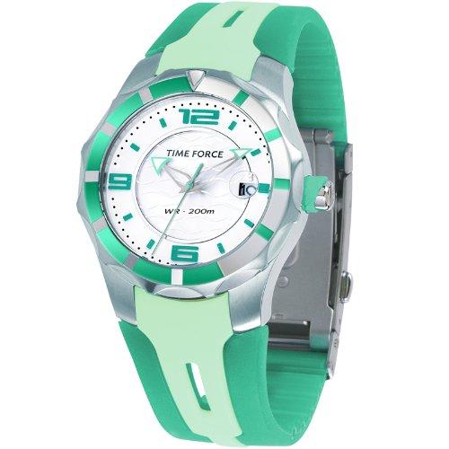 Reloj TIME FORCE de Cadete Sumergible. Acero Correa de caucho verde. TF-2956L07