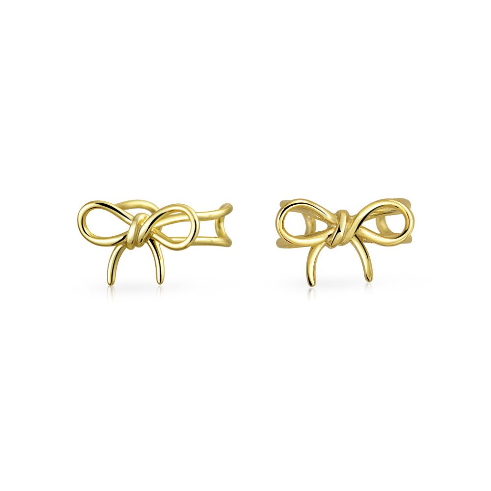 Bling Jewelry Gold Plated Sterling Silver Modern Bow Ear Cuff Wrap PFS-12-6018