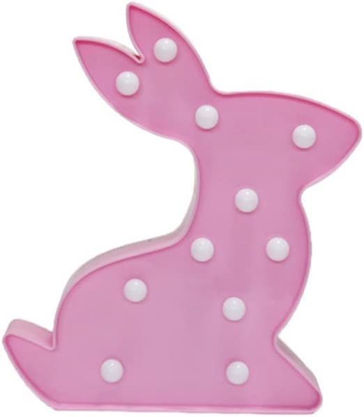 LEDMOMO LED Night Lamp Decorative Marquee Bunny Rabbit Signs Battery Operated Light Wall Decor for Chistmas,Birthday Party,Wedding,Kids Room,Living Room (Pink)