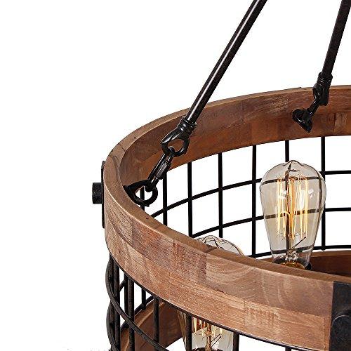 Anmytek Round Wooden Chandelier Metal Pendant Five Lights Decorative Lighting Fixture Antique Ceiling Lamp (Five Lights) by Anmytek (Image #4)