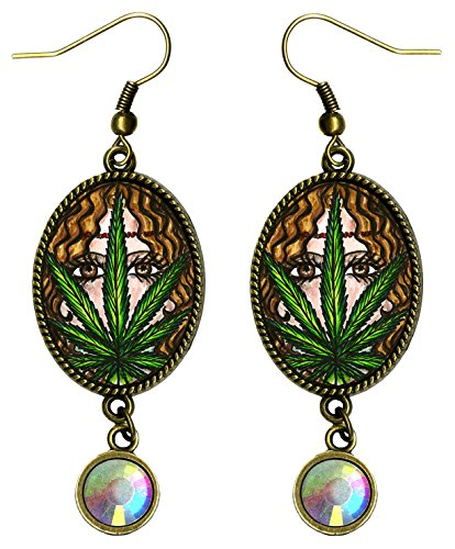 Bohemian Marijuana Hemp Hippie Goddess Bronze Iridescent Rhinestone Earrings