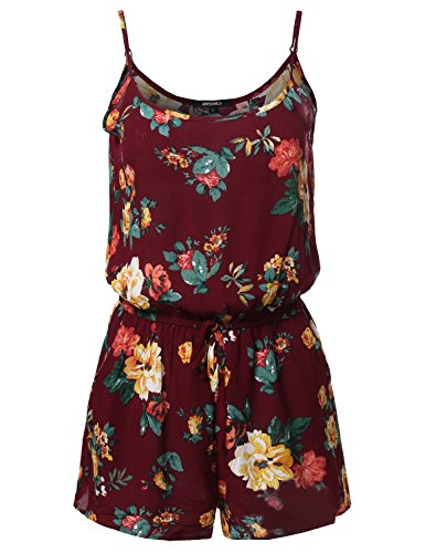 Floral Print Elastic Waistband Romper Burgundy Size M (Plus Size Rompers)