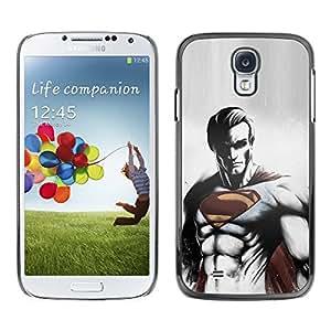 SAMSUNG Galaxy S4 IV / i9500 / i9515 / i9505G / SGH-i337 , Radio-Star - Cáscara Funda Case Caso De Plástico (Cool Dark Superhero Super Man)