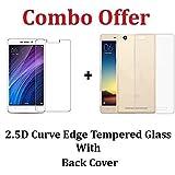 Kaira Tempered Glass , Transparent Soft Ultra Slim Back Cover Case For Xiaomi Redmi 4A