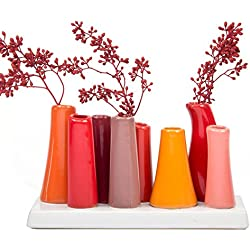 Chive - Pooley 2, Unique Rectangle Ceramic Flower Vase, Small Bud Vase, Decorative Floral Vase for Home Decor, Table Top Centerpieces, Arranging Bouquets, Set of 8 Tubes Connected (Pumpkin Orange Red)