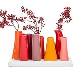 Chive - Pooley 2, Unique Rectangle Ceramic Flower Vase, Small Bud Vase, Decorative Floral Vase for Home Decor, Table Top Centerpieces, Arranging Bouquets, Set of 8 Tubes Connected (Pumpkin Orange Red)