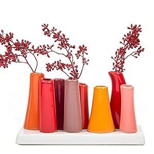 Chive - Pooley 2, Unique Rectangle Ceramic Flower Vase, Small Bud Vase, Decorative Floral Vase for Home Decor, Table Top Centerpieces, Arranging Bouquets, Set of 8 Tubes Connected (Pumpkin Orange Red) 43