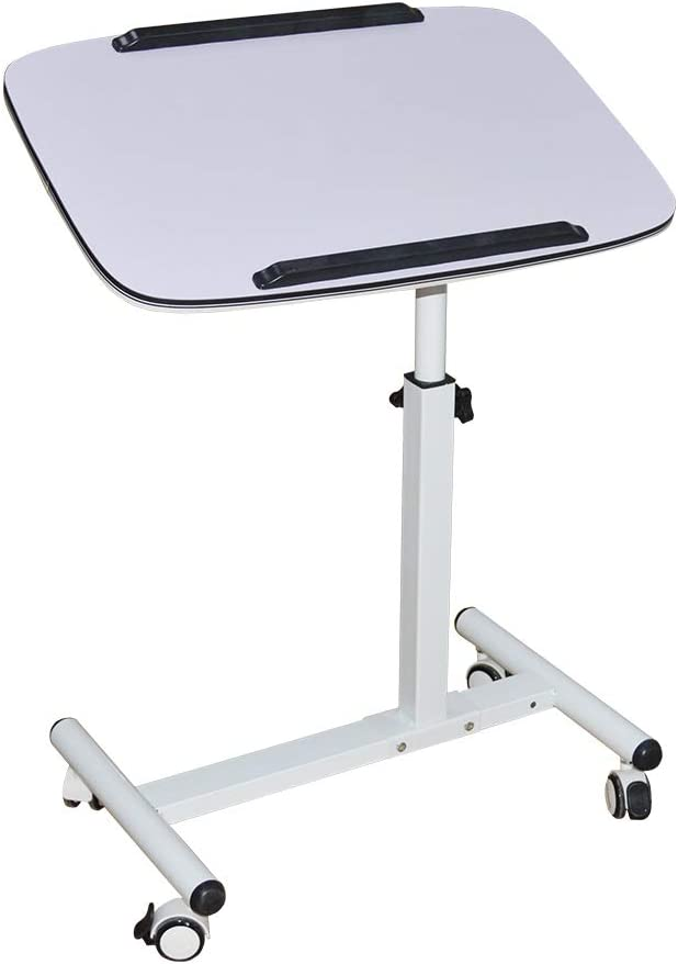 NOVII Mobile Laptop Computer Desk Cart, Angle & Height Adjustable Cost-Effective Rolling Workstation, Sofa/Bed Side Table Stand, That Also Works Great as a Lectern/Podiu (White)