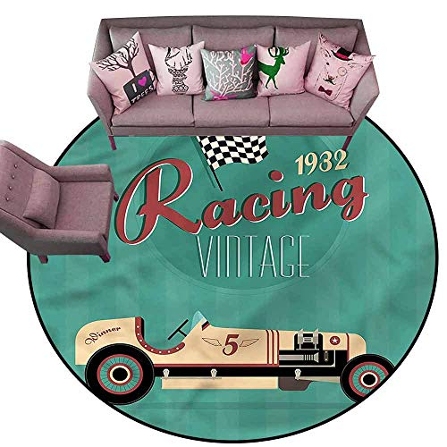 Floor mats for Kids Cars,Vintage Style Automobile Diameter 78