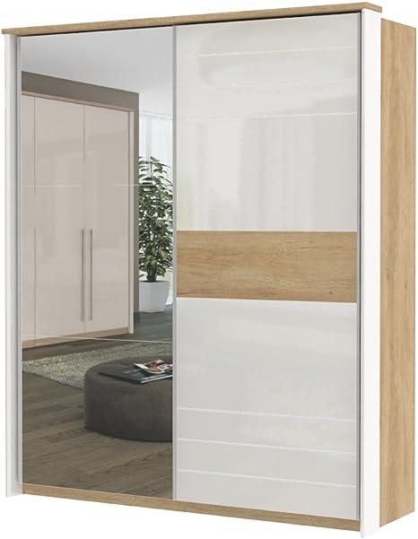 armario armario de puertas correderas Lepa 07, color: roble marrón/blanco brillante – Dimensiones: 225 x 188 x 64 cm (H x B x T): Amazon.es: Bricolaje y herramientas