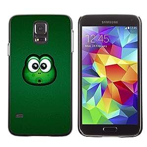 QCASE / Samsung Galaxy S5 SM-G900 / rana grandes ojos verde animal de dibujos animados amistoso / Delgado Negro Plástico caso cubierta Shell Armor Funda Case Cover