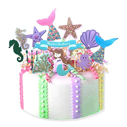 12Pcs Fairytale Mermaid Theme Happy Birthday Cake Toppers for Baby Shower Birthday Favors, Party Decoration