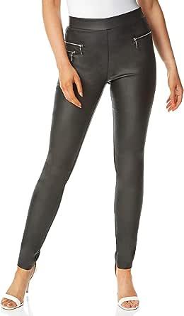 Roman Originals Pantalones de piel sintética con detalle de cremallera para mujer, estilo casual, para mujer