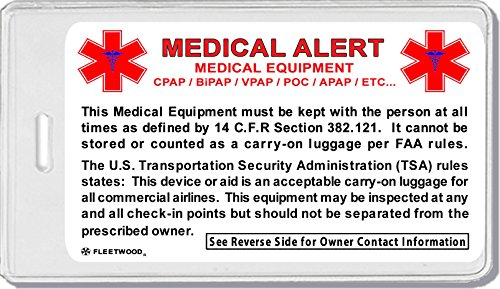 e0824e8f527d 2x Medical Cross At Bottom Equipment ID Luggage Tags TSA Carry-On CPAP  BiPAP Sleep APNEA POC