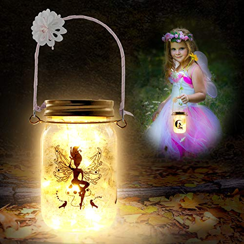 Koogel Fairy Jar Kits for Girls, 2PCS Fairy Lanterns with Various Fairy Light Crafts Kit for Girls Night Lights DIY Creation Birthday Thanksgiving Christmas