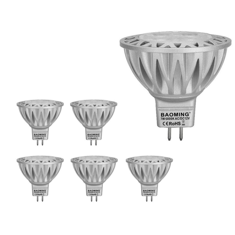 BAOMING MR16 LED BULB 7W Cool White(6000k) 50W Halogen Equivalent Bi Pin GU5.3 Base 12V AC/DC 560/lm Aluminum 38°Beam Angle 6-Pack