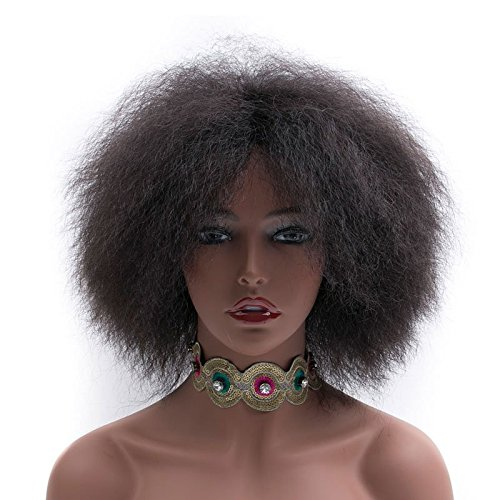 Search : Short Wigs For Black Women Afro Wig Natural Black Wig Heat Resistant African American Wigs (Black)