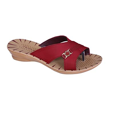 e944c173794004 Chillax Women's Fancy Casual Ladies Mahroon Synthetic Slippers ...