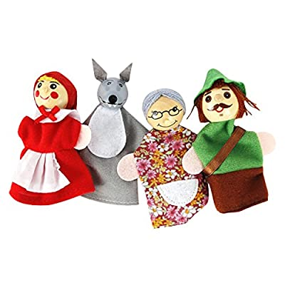 SSEDEW 4pcs Cute Little Red Riding Hood Story Soft Finger Puppets Dolls Education Toys for Children, Shows, Playtime: Toys & Games