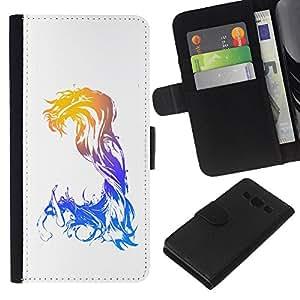 - GODDESS WATERCOLOR WAVES ART WOMAN MERMAID - - Prima caja de la PU billetera de cuero con ranuras para tarjetas, efectivo desmontable correa para l Funny House FOR Samsung Galaxy A3