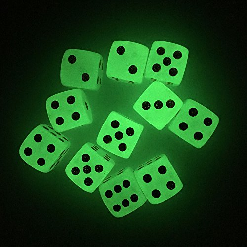Smartdealspro 10-Pack 16mm D6 Six Sided Glow in The Dark Dice Die