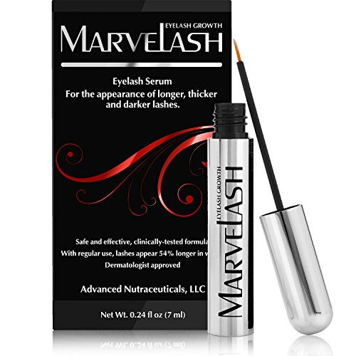 Best Eyelash Growth Serum: MARVELASH | Grows Eyelashes & Eyebrows Fast! For Thicker Longer Stronger Lashes & Fuller Brows - Get Long Dark Sexy Lashes in Just 4 Weeks |Rapid Lash Stimulator Thickener and Enhancer with Pentapeptide-17 & Biotin (7ml)