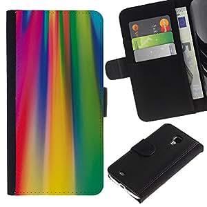 A-type (Ácido líneas de colores fucsia patrón) Colorida Impresión Funda Cuero Monedero Caja Bolsa Cubierta Caja Piel Card Slots Para Samsung Galaxy S4 Mini i9190 (NOT S4)