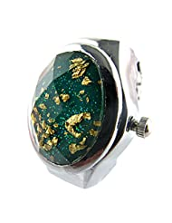 MapofBeauty Oval Faceted Crystal Inlay Hunter Case Quartz Finger Ring Watch (Green)