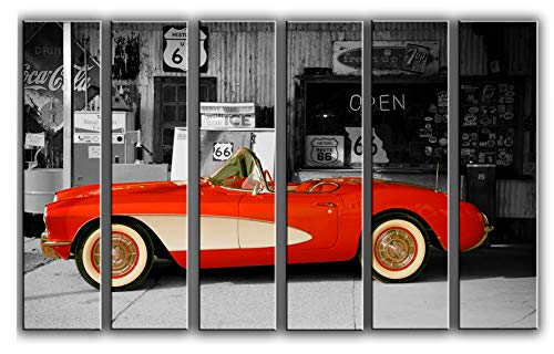 Hotel Arizona HD Large Set Vintage Car Picture Wall Art Decor on Canvas 6 Panels Pieces - Route 66 Classic Car Print Poster Chevrolet Corvette Wall Art Painting 44 by 67 inches Overall