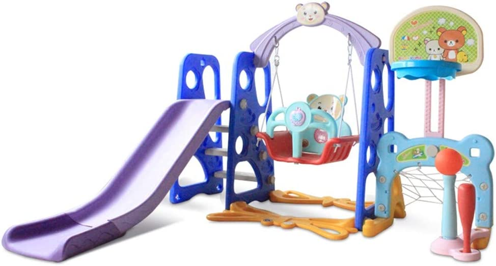Toddler Climber Slide Playset w//Basketball Hoop Football Baseball Combinations Climb Stairs Swing L-MIN Kids Climber Swing and Slide Set