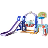 Toddler Slide and Swing Set, Erwazi 6 in 1 Freestanding Climber Slide Playset W/Basketball Hoop, Kids Playset Indoor Outdoor for Ages 8 Months to 6 Years Old (Multicolor)