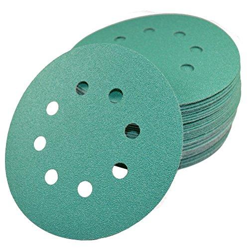 "HQRP 5"" 8-Hole 100-Grit Dustless Hook & Loop Sanding Disc..."
