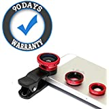 Alientech™ Universal 3 in 1 Cell Phone Camera Lens Kit -Fish Eye Lens Compatible with All Smartphones and Tablets (90 Days Warranty)
