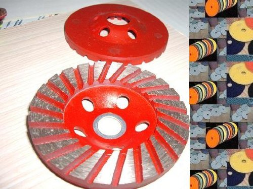 4'' 4 Inch Diamond Polishing Pad 11 Pieces PLUS 2 Pieces of 4'' Turbo Row Super Wide Segment Grinding Diamond Cup Wheel Concrete Stone toolsmart