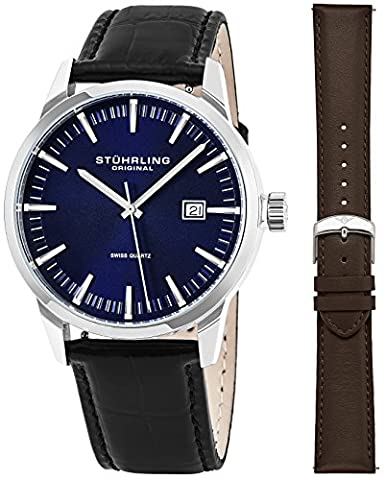 Stuhrling Original Mens Minimalist Swiss Quartz Stainless Steel Dress Wrist-Watch, Quick-Set Date, 2 Easy-Interchangeable Leather Straps – Black and (30mm Watch Face Protector)