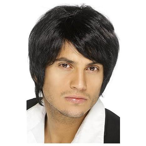 Perruque noire cheveux courts homme: Amazon.