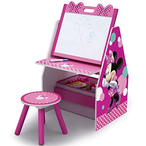 Delta Children Activity Center with Easel Desk, Stool and Toy Organizer, Disney Minnie Mouse Disney Mouse Storage